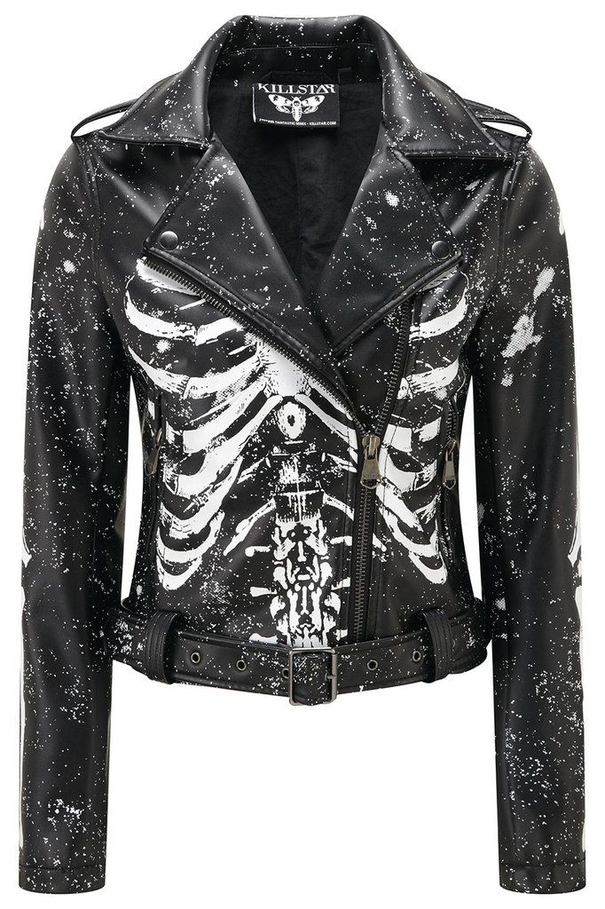 MORGUE. Bare Yer Bonez. - Luxe A+ Grade Vegan Leather.- Digital Bone-Prints.- Zipped Front.- Lined.- Constructed Fit. 'Gimme Bones' biker jacket with contrasti
