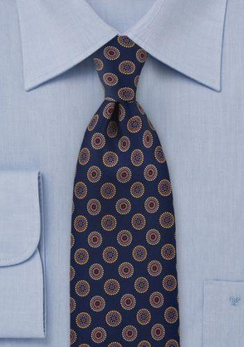 Cravate classique emblèmes bleu bronze