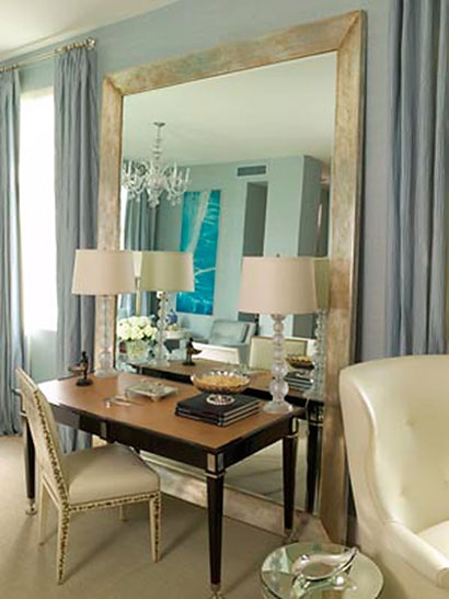 VANITY :: Huge Mirror Behind A Desk (or Vanity! Design By Nancy Corzine