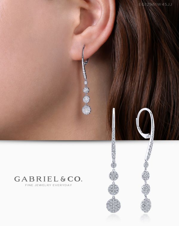 14K White Gold Diamond Earring EARRINGS