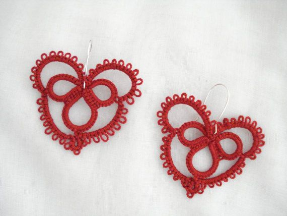 Red heart lace earrings Tatting lace earrings Needle by Poppyg