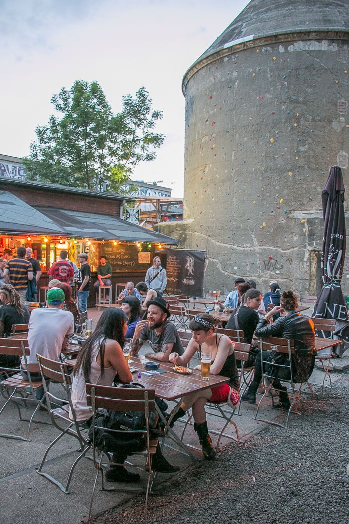 Cassiopeia Cafe | Berlin: a bar that formerly was an old railway station that's now been re-purposed. It has huge rock climbing wall, spacious beer garden, multiple bars, a food stand and often a DJ playing.