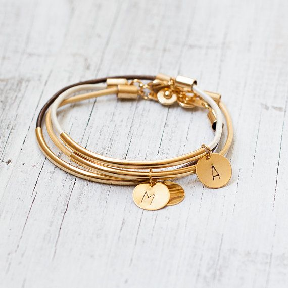 Leather initial gold bracelet  gold tube bar by Folirin on Etsy, $15.50Gift Bridal, Initials Gold, Gold Tube, Friendship Charms, Gold Bracelets, Bridesmaid Gifts, Bar Personalized, Wedding Bridesmaid, Leather Initials