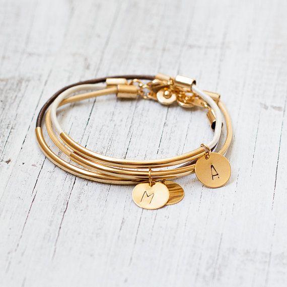 Leather initial gold bracelet  gold tube bar by Folirin on Etsy, $15.50