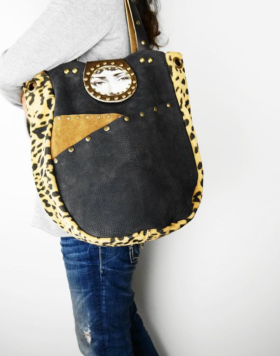 Animal Print LEATHER SHOULDER BAG Black and by NeroliHandbags