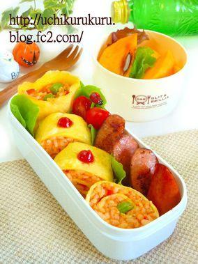 オム寿司 ジョンソンヴィルソーセージ お弁当レシピ カフェ弁 オムライス ケチヤップライス|レシピブログ