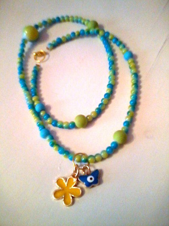 New Long blue tone charm necklace by KaterinakiJewelry on Etsy, $6.80