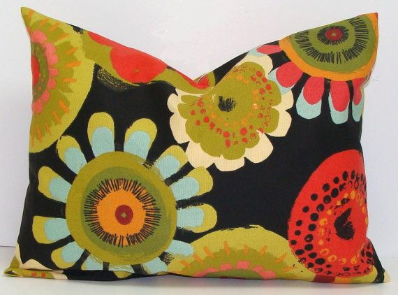 BLACK OUTDOOR PILLOW.12x16 Or 12x18 Inch.Decorative Pillow Covers.Outdoor  Decor.Housewares.Indoor. Outdoor.Flowers.Floral.Green.Black.Yellow