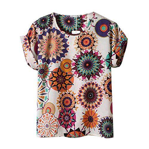 ROPALIA Lady Sunflower Print Chiffon Blouse Batwing Sleeve T-Shirts Sweet Shirt