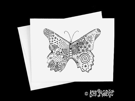 Butterfly Note Card Butterflies Notecard by karmabee on Etsy