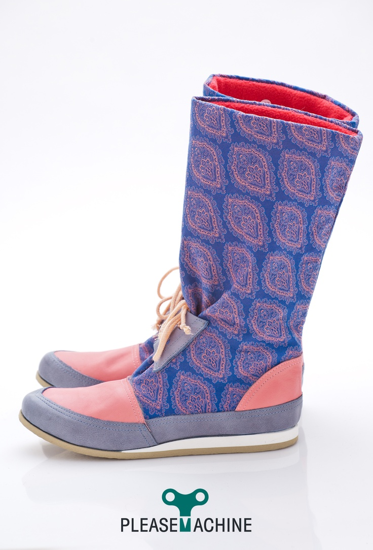 Recycled nylon fabric + leather  Designer snow boots for Her  handcrafted in Budapest
