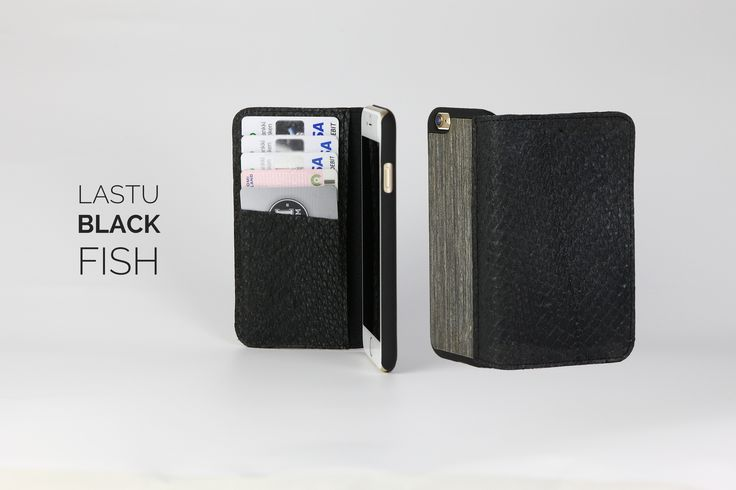 Lastu Black Fish Case for iPhone 5/5S/6/6 Plus (Limited) |  Made from real Salmon Skin & Wood. Available with free engraving. 59€  www.lastucase.com  #iPhone #fish #case #cover #wood