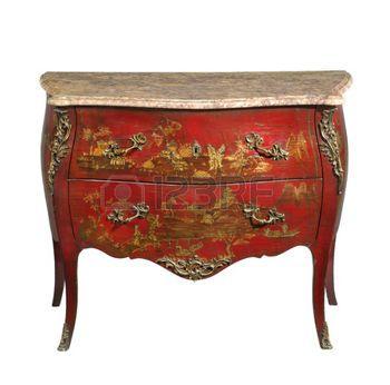 oude+vintage+antieke+commode+bekend+als+commode+hout+geschilderde+Japanse+verfgoud+meubels+en+marmeren+blad+die+op+wit+met+het+knippen+van+weg+te+kijken