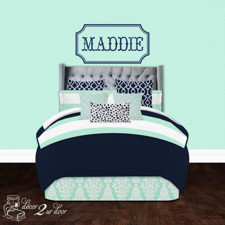 Mint U0026 Navy Wide Stripe Custom Designer Teen Girl Apartment U0026 Dorm Room  Bedding Set