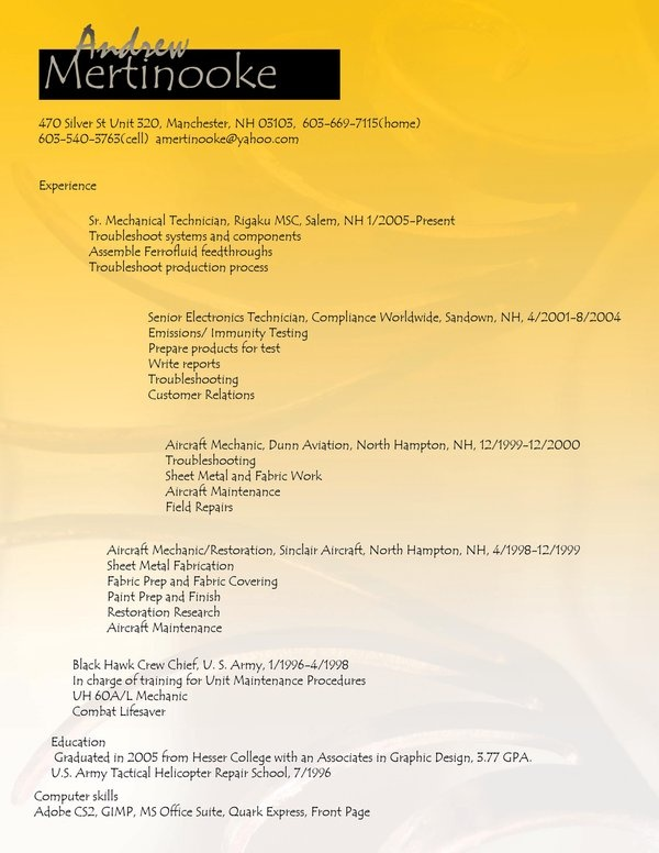 resume sheet metal mechanic