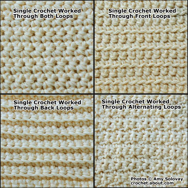 Single Crochet Stitch Plus Several Variations of Single Crochet - Photo © Amy Solovay