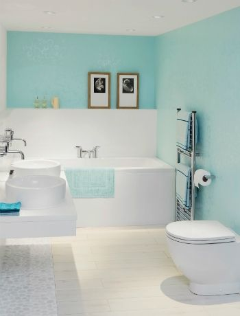 an alternative to wall tiles - Nuance laminate wall panelling in Aqua Bubble, from £60 psm, Bushboard