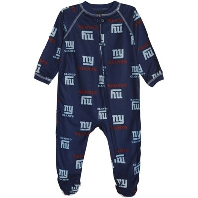 New York Giants Infant Logo Print Blanket Sleeper - Royal Blue
