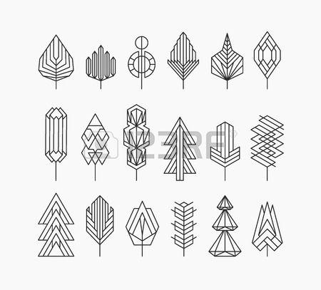 Ensemble D'arbre Graphique, Le Style Hippie Linéaire Clip Art Libres De Droits , Vecteurs Et Illustration. Image…