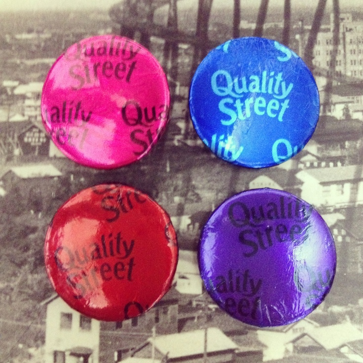 Unwanted pin badges, a handful of Quality Street and a 10 mins of boredom = quality badges :)