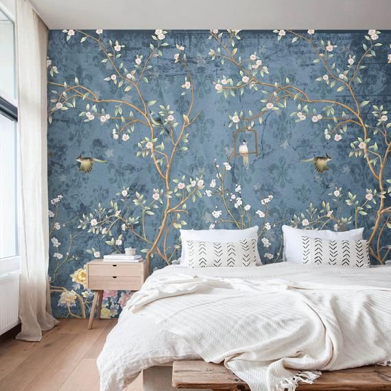 Chinoiserie Wallpaper Mural Peel And Stick Removable Wall Etsy In 2021 Chinoiserie Wallpaper Bedroom Bedroom Wallpaper Accent Wall Master Bedroom Wallpaper