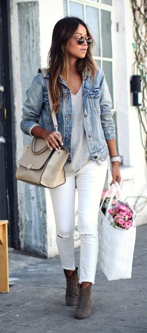 f80d3a5fb5 40+ cute denim jacket outfit ideas 2018 for ladies -  denim  jeans  jackets   fashionoutfits  outfitpost  outfitinspiration  clothing  Casual  outfits  ...
