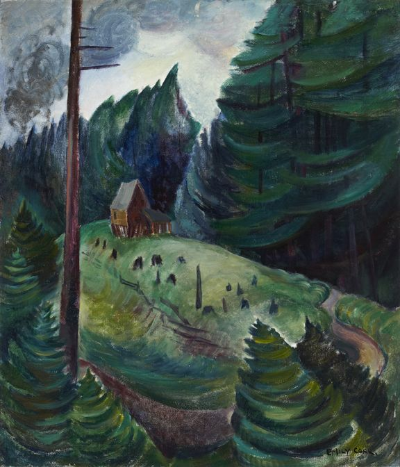 """House Near Woods,"" Emily Carr, ca. 1931, oil, Robert McLaughlin Gallery."