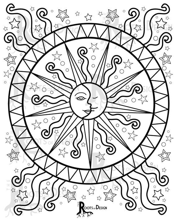 INSTANT DOWNLOAD Coloring Page Celestial Mandala by RootsDesign: