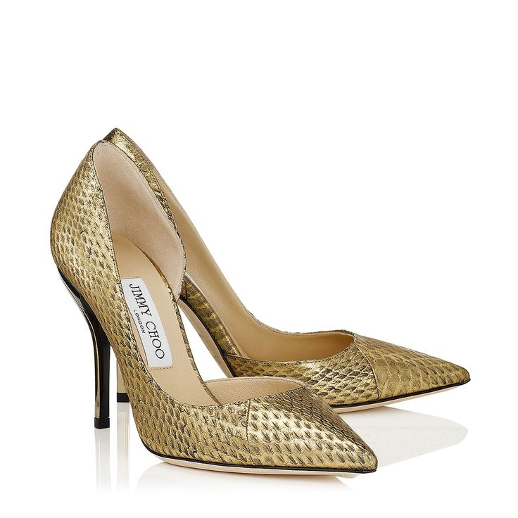 Gold Metallic Elaphe Pointy Toe Pumps | Willis | Pre Fall 14 | JIMMY CHOO  Shoes