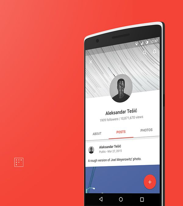 Google+ complete material redesign on Behance