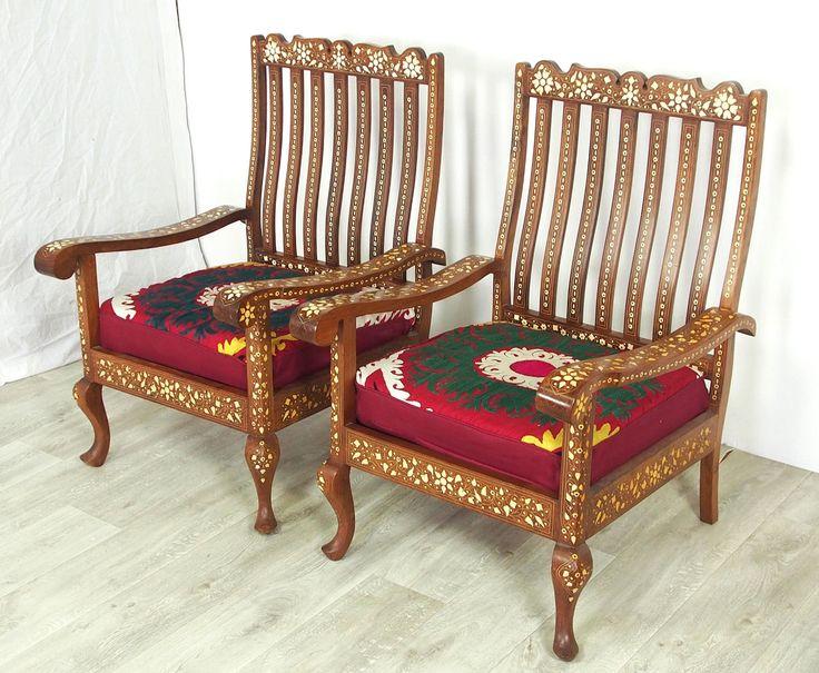 details zu antik 3 teilige indian anglo couch garnitur sofagarnitur sessel stuhl mit suzani. Black Bedroom Furniture Sets. Home Design Ideas