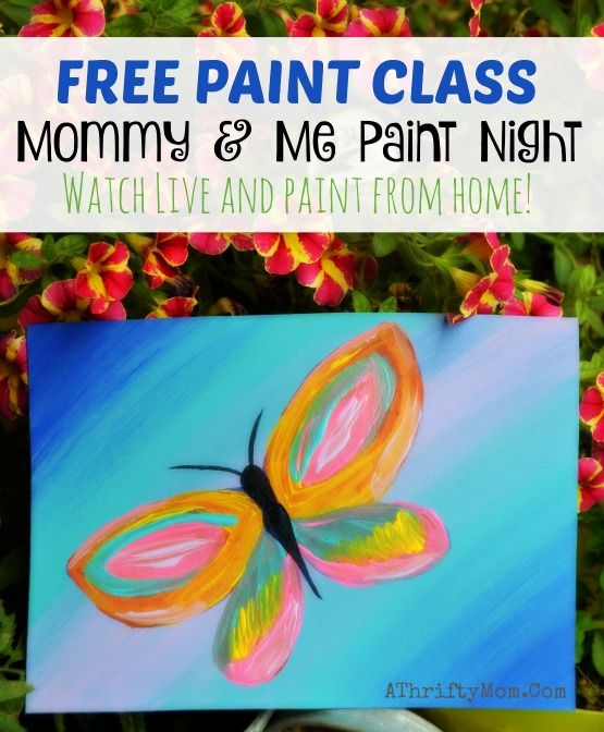 easy paintings on canvas easy art projects for kids join our free class and you can paint with us spring butterfly mommy and me paint night popular paint