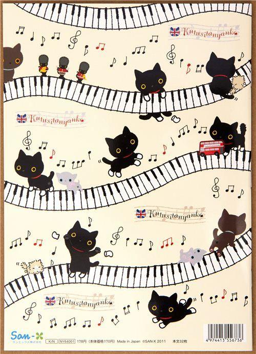 cute Kutusita Nyanko cat Notepad drawing book piano