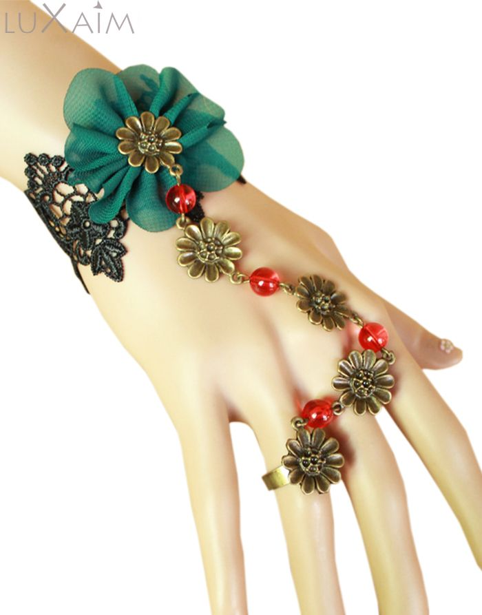 Green Flowered Black Lace Bracelet with Ring By Return Favors Visit http://www.returnfavors.com/green-flowered-black-lace-bracelet-with-ring-by-return-favors/