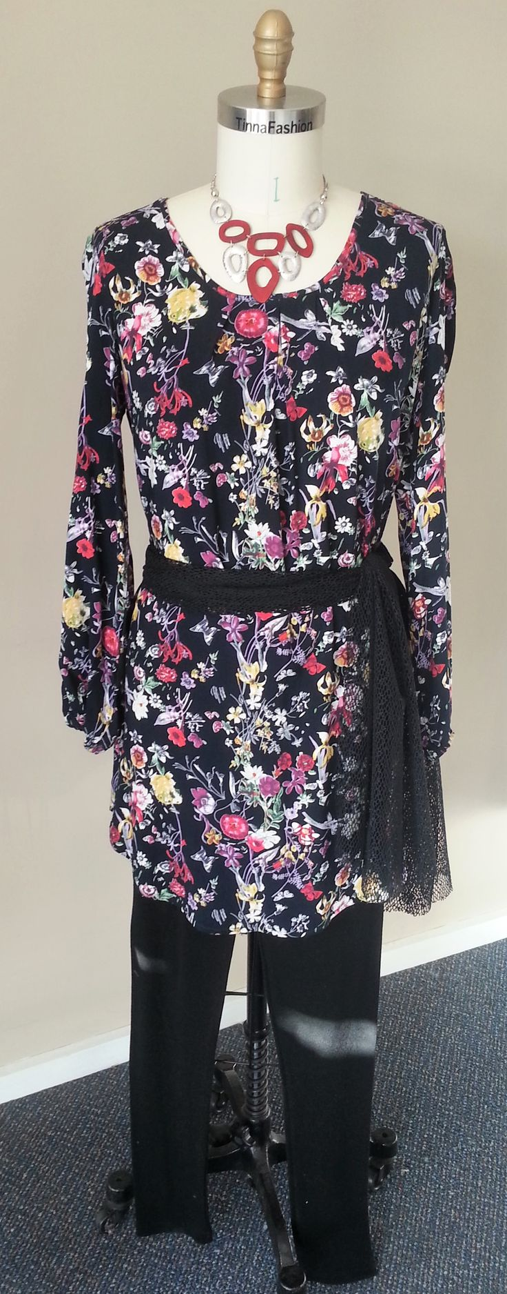 tunic length Soft Shirt with a pleat front in Ink Floral Fabric, a pair of Pure Wool Leggings, and a sash/scarf made from Black Holiday fabric