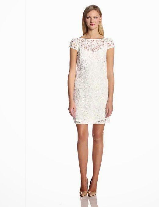 lace shift dress: White Lace Shift Dress