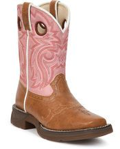 A little pop of pink for the country wedding flower girl   http://www.countryoutfitter.com/cowboy-boots/kids #weddingboots