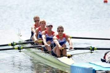 Team GB's lightweight men's four at the start of their heat on the Olympic rowing lake