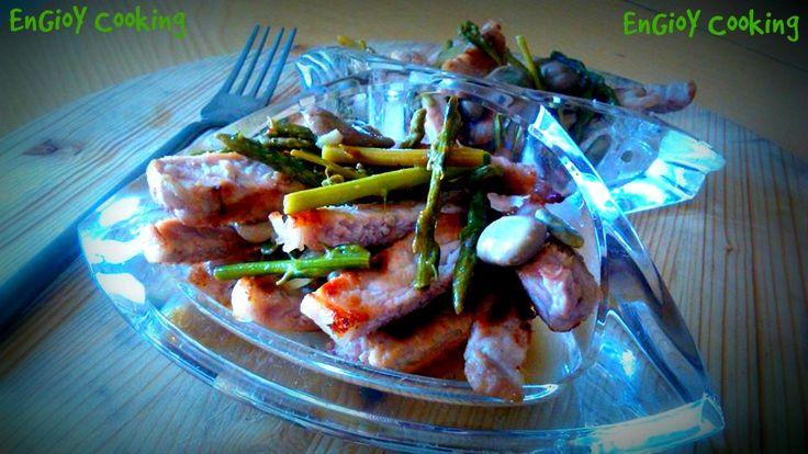 Maiale alla griglia con asparagi e fave