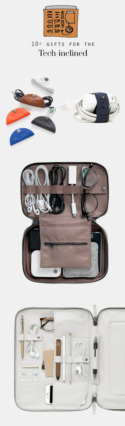 best gifts for anyone who has to carry and organize today's tech -> cords, laptops, iPads...