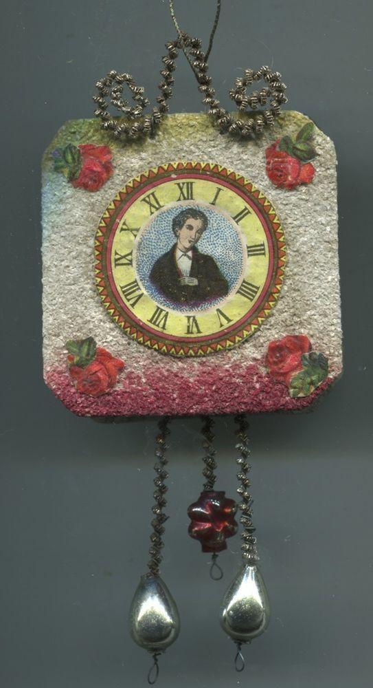 Alter Weihnachtsschmuck Christbaumschmuck Pappe Uhr Schilduhr 4 Rosen+Hausherr