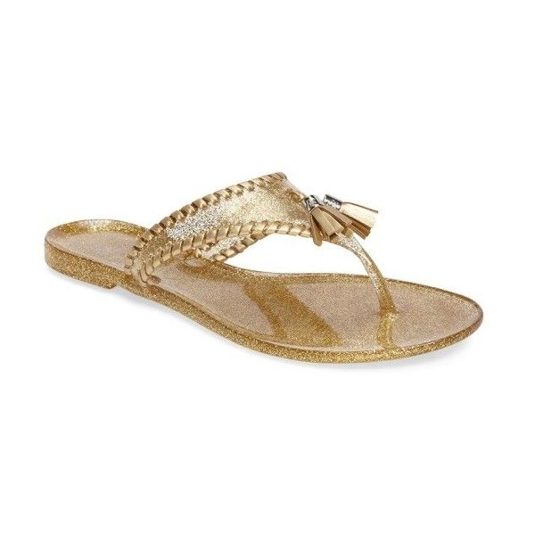 Women's Jack Rogers Alana Water Resistant Glitter Flip Flop (€56) ❤ liked on Polyvore featuring shoes, sandals, flip flops, gold sparkle jelly, water resistant shoes, jack rogers flip flops, glitter jelly sandals, jack rogers shoes and sparkly shoes