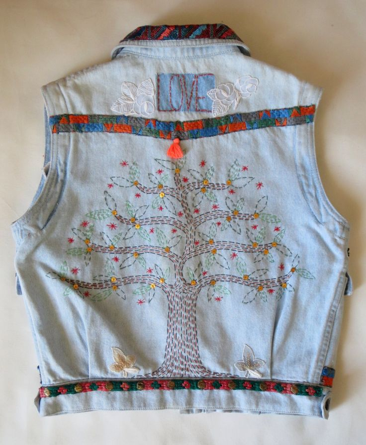 Sleeveless hand embroidered vintage jeans jacket- art to wear- one of a kind by BeatricePoggioArt on Etsy