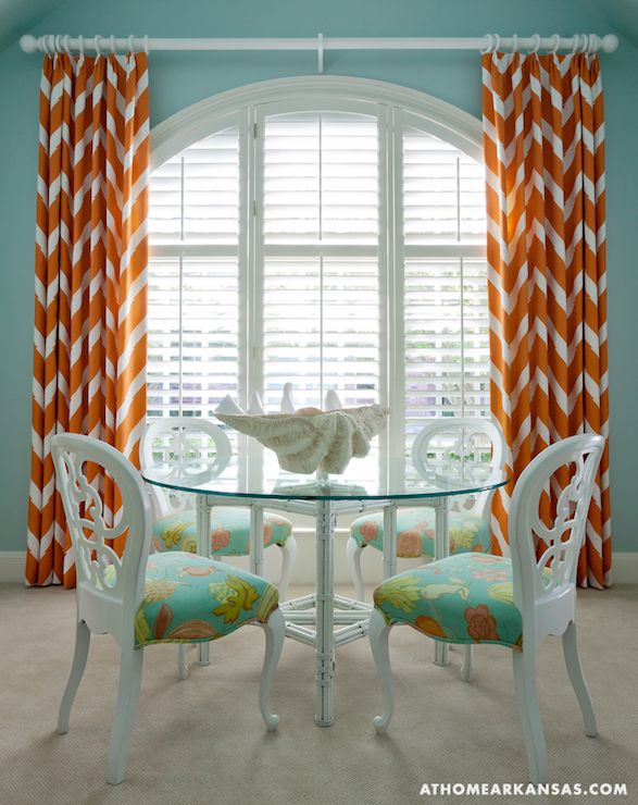 Good Tobi Fairley   Turquoise Blue And Orange Dining Room Features Round  Glass Top Dining Table