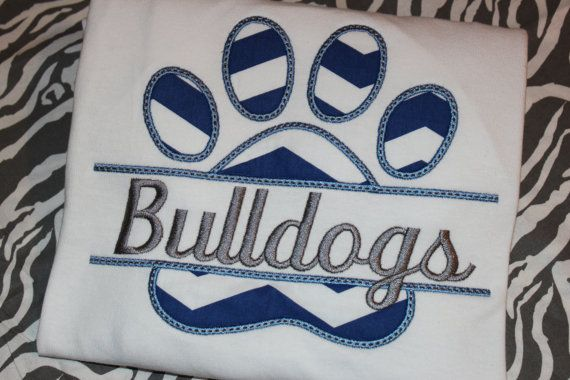 Bulldogs split pawprint personalized shirt by stephstowell on Etsy, $21.00