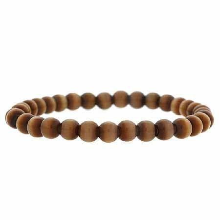 Simulated Brown Cats Eye Stone 6mm Bead Beaded Stretch Bracelet SilverSpeck.com. $6.99