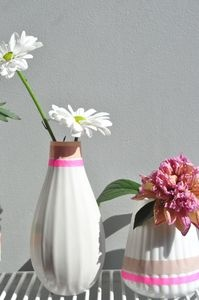 Vase with masking tape decor
