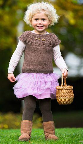 Strikkeopskrift, strikket pigevest med sødt uglemotiv, strik til børn
