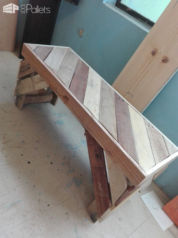 Attractive Diagonal Pallet Bench Under 3 Hours Pallet Benches, Pallet Chairs & Stools