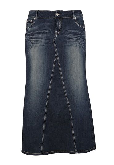 Dark Wash Long Denim Skirt available at #Maurices                                                                                                                                                                                 More